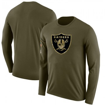Men's Blank Las Vegas Raiders Salute to Service Sideline Olive Legend Long Sleeve T-Shirt