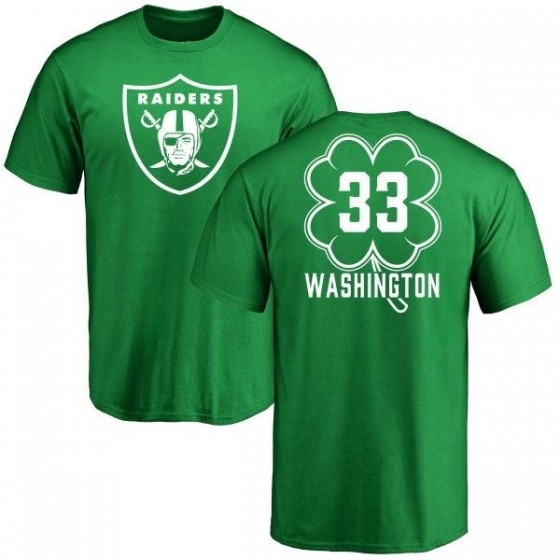 san francisco f77c2 828c5 Men's DeAndre Washington Oakland Raiders Green St. Patrick's Day Name &  Number T-Shirt