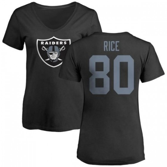 Women's Jerry Rice Las Vegas Raiders Name & Number Logo Slim Fit T-Shirt - Black