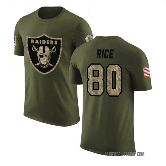 Youth Jerry Rice Las Vegas Raiders Olive Salute to Service Legend T-Shirt