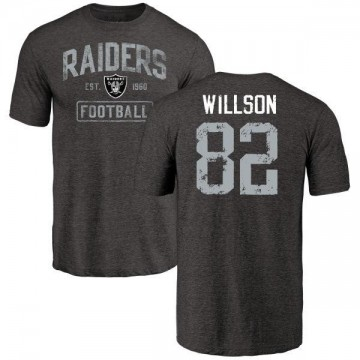 Youth Luke Willson Oakland Raiders Black Distressed Name & Number Tri-Blend T-Shirt